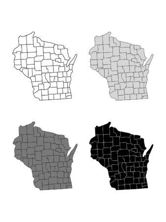 Wisconsin County Map (Gray, Black, White)