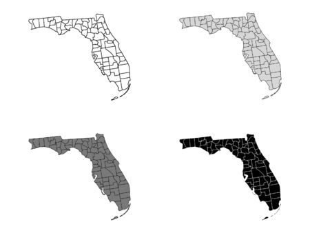Florida County Map (Gray, Black, White)