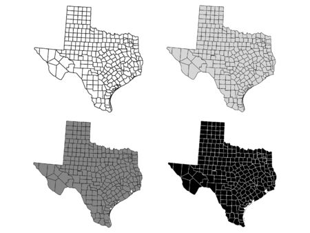 Texas County Map (Gray, Black, White) Фото со стока - 131426494