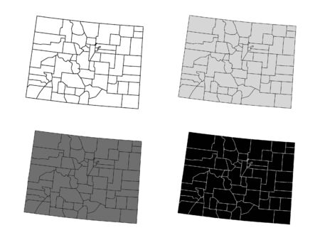 Colorado County Map (Gray, Black, White)