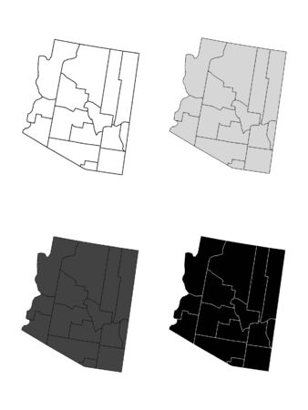 Arizona County Map (Gray, Black, White)