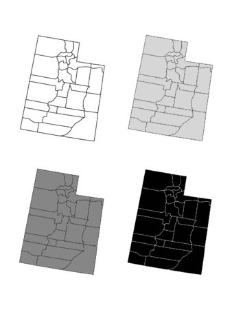 Utah County Map (Gray, Black, White)