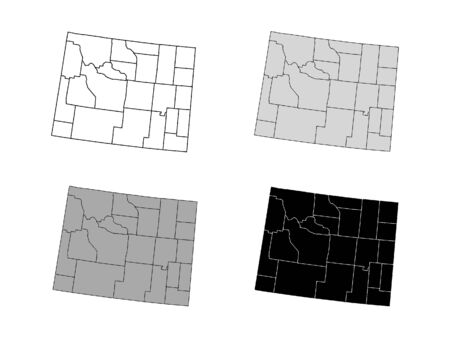 Wyoming County Map (Gray, Black, White)  イラスト・ベクター素材