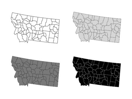Montana County Map (Gray, Black, White)