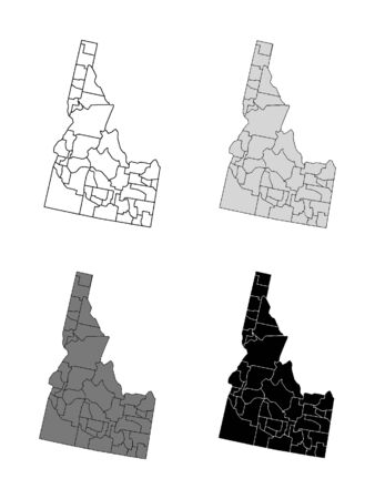 Idaho County Map (Gray, Black, White)