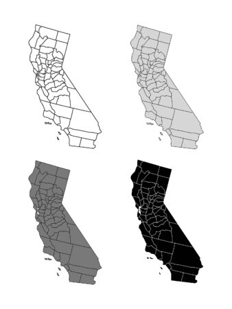 California County Map (Gray, Black, White)