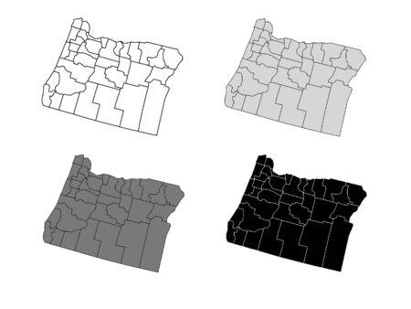 Oregon County Map (Gray, Black, Whit Иллюстрация