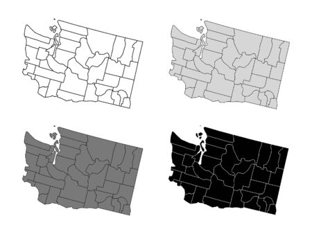 State of Washington County Map (Gray, Black, White)
