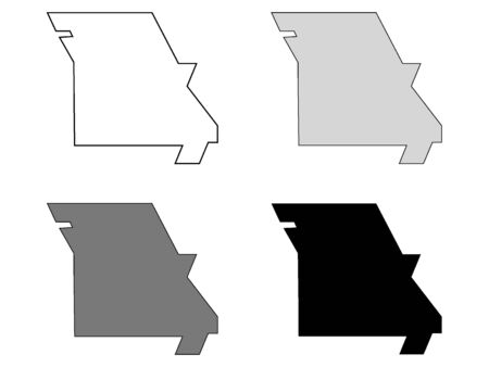 Simplified Map of Missouri (White, Gray, Black) Иллюстрация