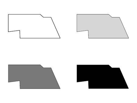 Simplified Map of Nebraska (White, Gray, Black)