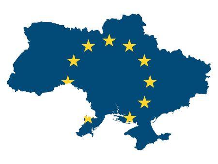 European Union Map of Ukraine Stock Illustratie