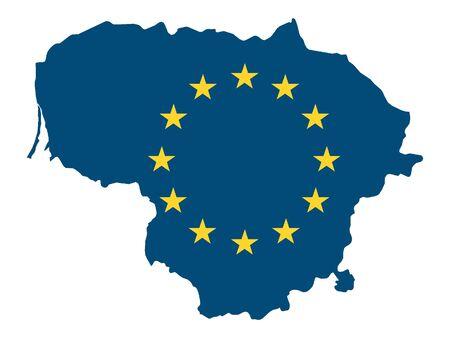European Union Map of Lithuania Ilustrace