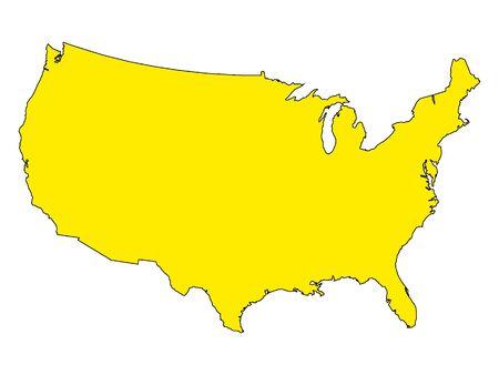 Yellow USA Map