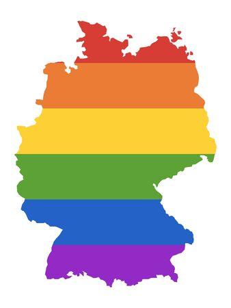 Rainbow Gay Map of Germany Stockfoto - 132264165