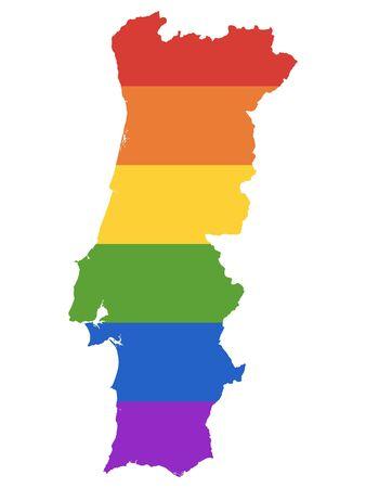 Rainbow Gay Map of Portugal Illustration