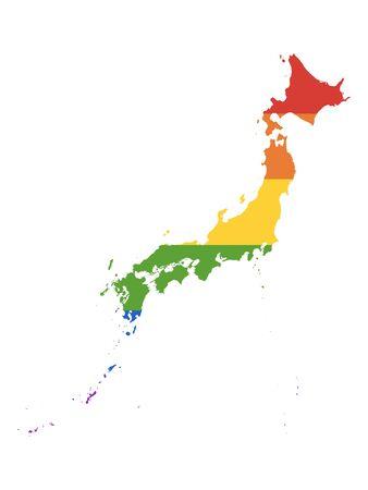 LGBT Rainbow Pride Map of Japan 写真素材 - 133345577