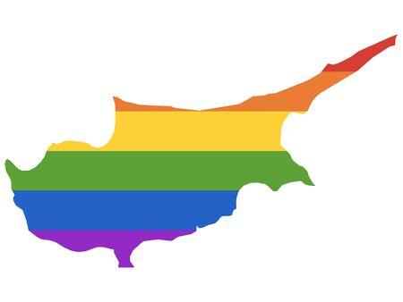 Rainbow Gay Map of Cyprus Illustration