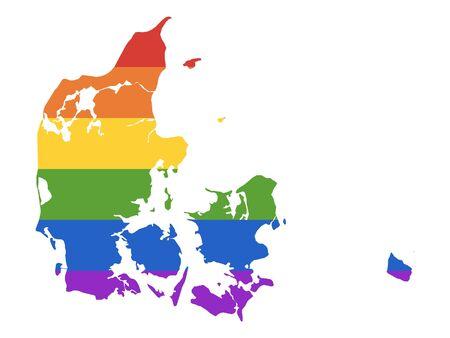 Rainbow LGBT Map of Denmark