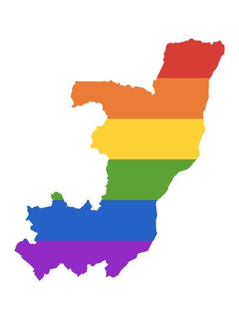 Rainbow LGBT Pride Map of Republic of the Congo