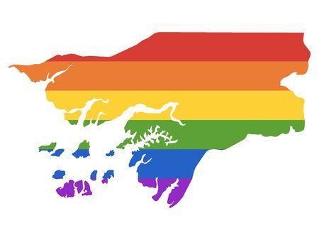 Rainbow LGBT Pride Map of Guinea-Bissau Illustration