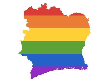 Rainbow LGBT Pride Map of Ivory Coast Vectores