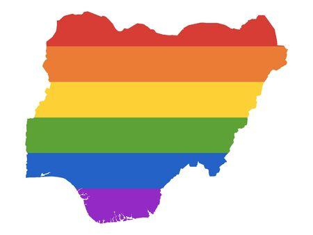 Rainbow LGBT Pride Map of Nigeria