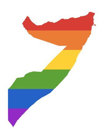 Rainbow LGBT Pride Map of Somalia Illustration