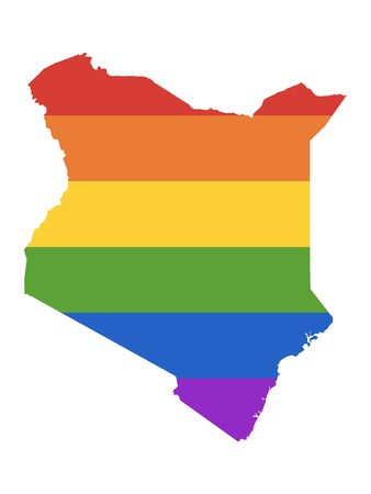 Rainbow LGBT Pride Map of Kenya Vectores