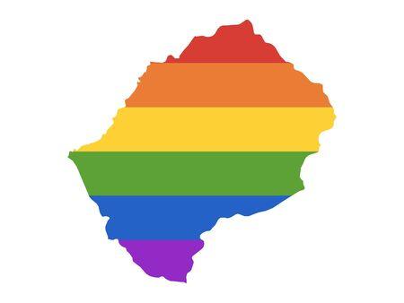 Rainbow LGBT Pride Map of Lesotho