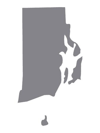Silver Map of USA State of Rhode Island