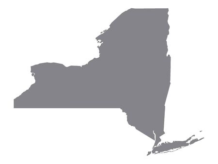 Silver Map of USA State of New York Illustration
