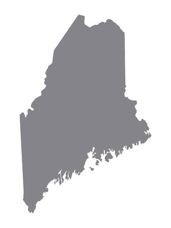 Silver Map of USA State of Maine