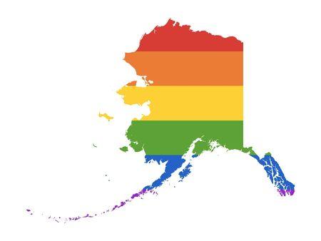 Rainbow LGBT Pride Map of USA State of Alaska Иллюстрация
