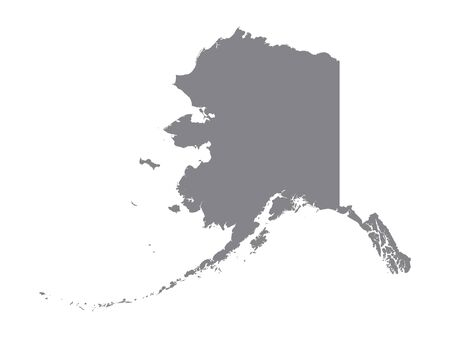 Silver Map of USA State of Alaska Иллюстрация