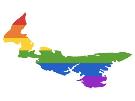 Rainbow LGBT Pride Map of Canada's Province of Prince Edward Island