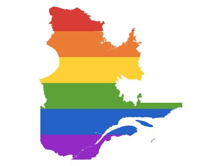 Rainbow LGBT Pride Map of Canada's Province of Quebec