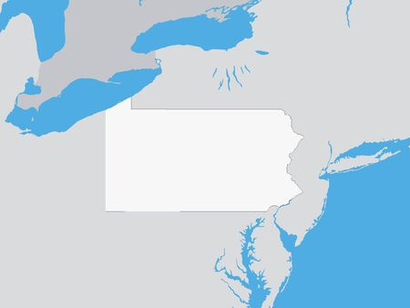 Map of the US Federal State of Pennsylvania
