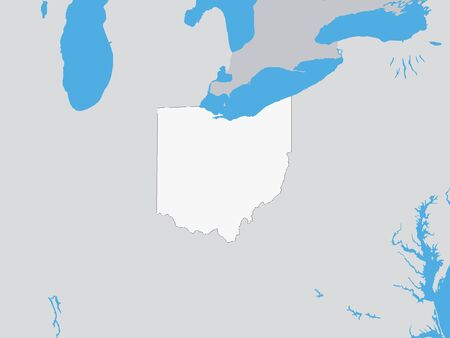 Map of the US Federal State of Ohio