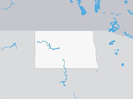 Map of the US Federal State of North Dakota Illustration