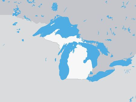 Map of the US Federal State of Michigan