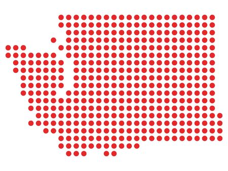Red Dotted Pattern Map of Washington