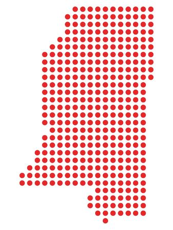 Red Dotted Pattern Map of Mississippi