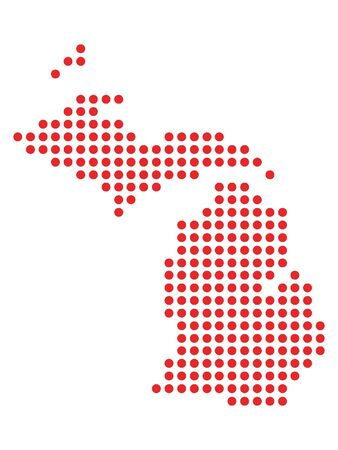 Red Dotted Pattern Map of Michigan
