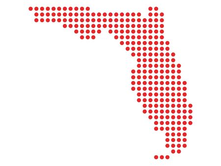 Red Dotted Pattern Map of Florida
