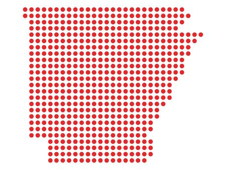 Red Dotted Pattern Map of Arkansas