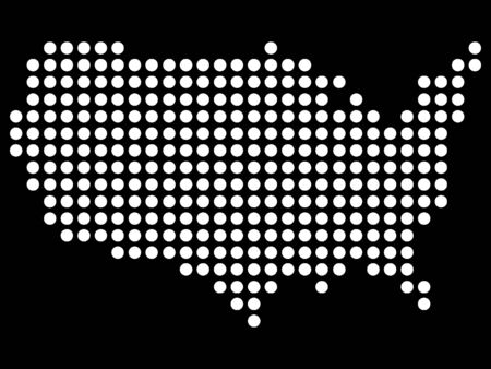 White Pattern Dotted Map of USA on Black Background