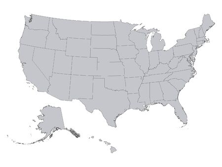 Gray Map of Federal States of USA on Gray Background