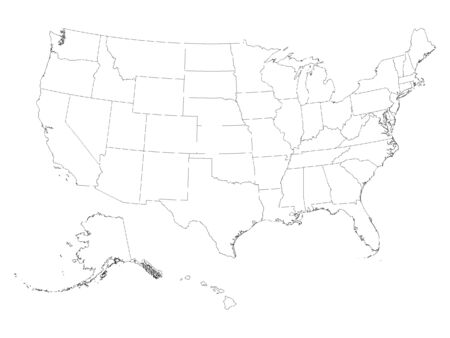 White Map of Federal States of USA on White Background 向量圖像