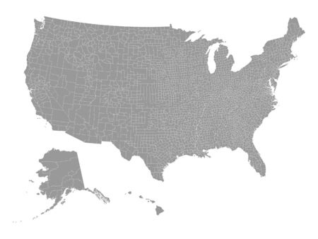 Gray Map of USA Counties on White Background Иллюстрация