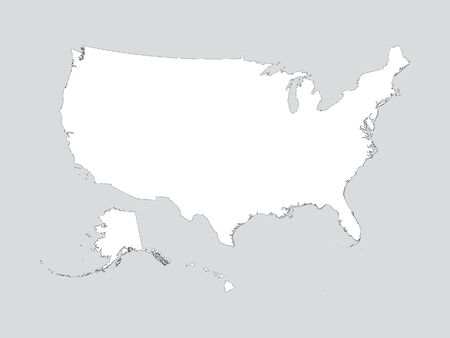 White Map of USA on Gray Background